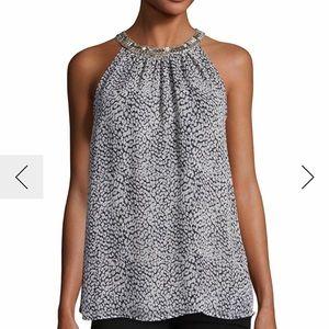 Katella Embellished-Collar Sleeveless Top, Black